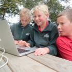Hinds School pupils (from left) Kate Sheppard, Alison Harbutt and Morgan Harbutt take the...
