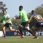 Highlanders Bravehearts No8 Sione Misiloi looks to release first five-eighth George Witana in the...
