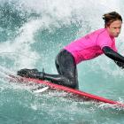 Australian Chayne Simpson on his way to winning the open division at the world kneeboarding...