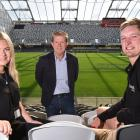 Former Otago Polytechnic students Sacha Coghill and Yannis Warrender, pictured with DVML chief...