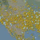 Flight Radar showed that at least 1500 flights were operating in the US. Photo / Flight Radar