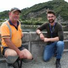 Liddells site foreman Jamie Rees with West Coast Regional Council engineering officer Jamie Bell...