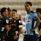 Chiefs players celebrate a try by Anton Lienert-Brown. Photo: Getty