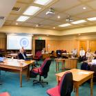 Waitaki District Council staff and councillors discuss a Covid-19 pandemic response on Tuesday....