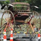 A carriage sits atop a trailer in readiness for filming.