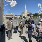 Victorian gents David Maclean and Graeme Martin are filmed outside Steam cafe. Photo: Supplied