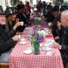 A group enjoys high tea during the Harbour St Party in Oamaru's Victorian precinct yesterday....