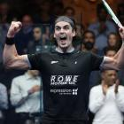 Paul Coll celebrates his victory over Mohamed El Shorbagy in Chicago on Tuesday, booking his...