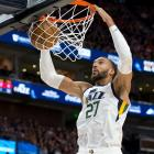 Utah Jazz centre Rudy Gobert (27), who has reportedly tested positive for coronavirus, dunks the...