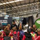 Beef and Lamb NZ chief executive Sam McIvor and extension manager Olivia Ross register students...