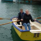 Dinghy rowing competitors Raewyn Pedofski (left) and Jo Kidston take the opportunity to try out...