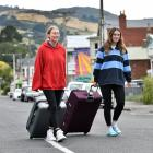 Getting ready to go are students Annika Levestam (left) and Shahlei Hewitson, of Christchurch....