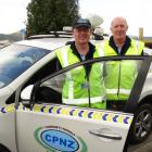 Mosgiel Community Patrol co-ordinator Merv Rowe (left) and volunteer Dave Mitchell. Photo: Brenda...