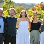 Chef de mission John Guthrie with Rory Sutherland, Tessa Aitken, Emma Taggart and Jess Marvin who...