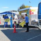 Clinicians set up their mobile testing station at the Hampstead Rugby Club last weekend.