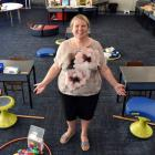 Class under Covid ... Tainui School co-deputy principal Erika Ward shows the new layout of a...