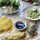 Tumeric pancakes with smashed avocado. Photo: Simon Lambert