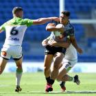 Warriors fulback Roger Tuivasa-Sheck makes a run during the side's last match, against the...