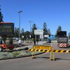 Barriers and digital warning signs to keep people off Maroubra Beach in Sydney at the weekend....