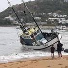 The Aorere came off its moorings and ran aground at Moeraki on Monday. PHOTO: SUPPLIED