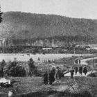 The view from Tahakopa traffic bridge, looking towards the railway station, Catlins District. —...