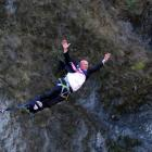 Queenstown Mayor Jim Boult does a bungy jump above the Kawarau River this morning. Photo: Supplied