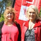 Retiring Dunedin South Labour MP Clare Curran (left) stands next to the party's 2020 electorate...