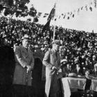The Mayor of Wanganui, C. E.  Mackay, gives an address of welcome to Edward, Prince of Wales. —...