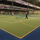 Edgar Centre facilities manager Brendon Tilleyshort moves a goal at the venue yesterday. PHOTO:...