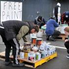People make the most of Mulford Holdings free paint giveaway. PHOTOS: CHRISTINE O'CONNOR.