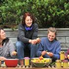 Processing apples for some apple jam and a pie on Saturday are (from left) Lidia Campos (29), Liz...