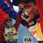 Mikko Hirvonen celebrates his win in the Rally of Sweden in 2010. Photo: Getty Images