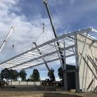 The framework for the roof of the main courts in the Foster Park Indoor Courts complex have been...