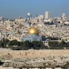 Jerusalem, showing the Dome of the Rock and in the background the Church of the Holy Sepulchre....