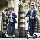 Deposed National Party leader Simon Bridges (right) with Michael Woodhouse go for a ride in...