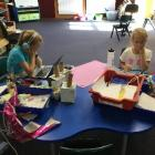 St Clair School pupils Lexi (6) and Lara (8) Lowe learn at school during Alert Level 3 last week....