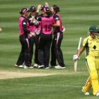 The White Ferns celebrate getting Australia captain Meg Lanning out, something they will hope to...
