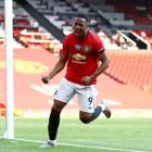 Anthony Martial celebrates one of three goals he scored in Manchester United's win over Sheffield...