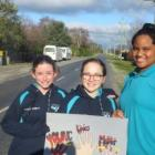 Longbeach School pupils Taylor Lamont, Freya Jemmett and Yasmin Larry, all 12. Photo: Ashburton...