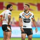 Benji Marshall of the Tigers looks on during the round four NRL match between the Gold Coast...