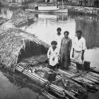 Fijians on a raft at Suva. — Otago Witness, 22.6.1920.