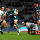 Marino Mikaele Tu'u makes a break during another impressive display for the Highlanders. Photo:...