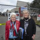 Janice Moss (left) and Betty Chapman outside the Wainoni Methodist Church. Photo: Geoff Sloan