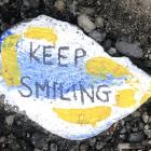 Keep Smiling, Support Local and Tough Now, Terrific Soon were pieces of art that were left...
