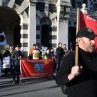 Rallying for rail ... Rail and Maritime Transport Union members and local politicians gather...