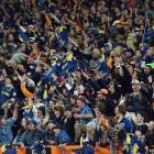 A big crowd barracks for the home team, the Highlanders, during their clash with the Chiefs in...