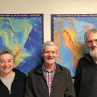 GNS Science Dunedin office staff Belinda Smith Lyttle, Dr Nick Mortimer (centre) and Phil Scadden...