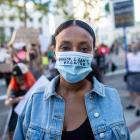 A Black Lives Matter protester in Los Angeles. PHOTO: TNS