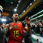Vince Carter leaves the arena after an Atlanta Hawks game in Boston earlier this year. Photo:...