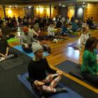 Helen Rice (front left), of Auckland, and Wanaka yoga teacher Susan Allan (front right) were just...